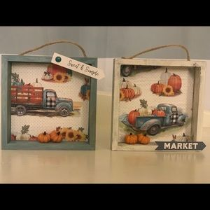 Fall Thanksgiving Wooden Box Scene Signs set of 2